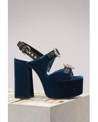 Miu Miu | Velvet High Heels Sandals | Lyst