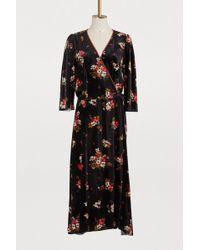 Dolce & Gabbana Silk Blend Floral Print Dress - Black