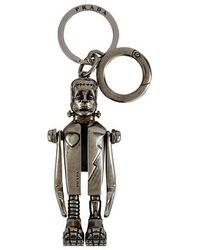 Prada Metal Key Ring - Metallic