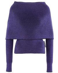Balenciaga Boat Neck Sweater - Blue