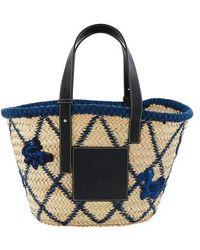Loewe Basket Animals Raffia Tote Bag - Blue