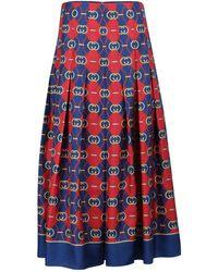 Gucci Printed Pleated Silk Midi Skirt - Blue