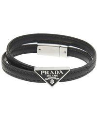Prada Double bracelet en cuir Saffiano Triangle - Noir