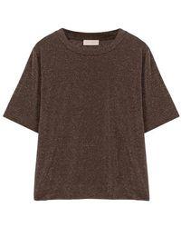 Momoní T-shirt Iora en jersey de lurex - Marron