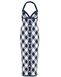Balmain Midi robe à carreaux - Bleu