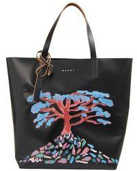 Marni Shopping Bag With Tree Pattern - Black