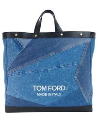 Tom Ford Sac cabas en denim Patchwork T Screw Shopper - Bleu