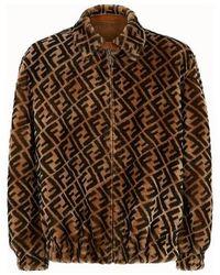 Fendi Jacket In Brown Shearling