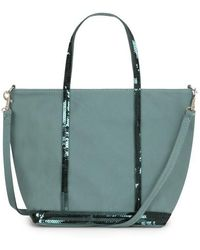 Vanessa Bruno Small Canvas And Sequins Cabas Tote Bag With Detachable Strap - Green