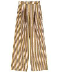 Momoní Lanzarote Pants In Printed Habotai - Brown