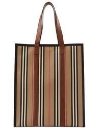 Burberry Icon Stripe E-canvas Portrait Tote Bag - Neutre