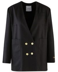 Patou Double-breasted Jacket - Black