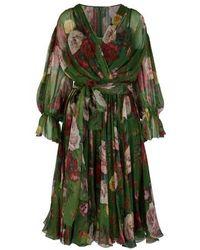Dolce & Gabbana Floral Baroque Silk Dress - Green
