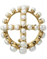 Patou Round Brooch With Perles - Metallic