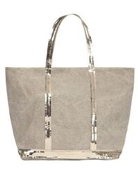 Vanessa Bruno Linen And Sequins L Zipped Cabas Tote - Multicolor