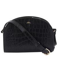 A.P.C. Demi-lune Crocodile Effect Leather Bag - Black