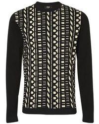 Fendi Logo Panel Sweater - Black