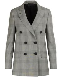 Officine Generale Manon Prince Of Wales Checked Wool Double-breasted Jacket - Grey