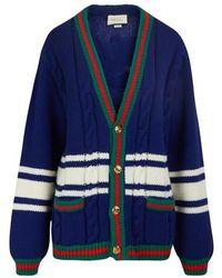 Gucci Cardigan en laine - Bleu