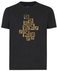 Fendi - T-shirt en coton noir - Lyst