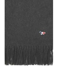 Maison Kitsuné Tricolor Fox Wool Scarf - Grey