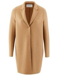 Harris Wharf London Cocoon Coat In Felted Wool - Brown