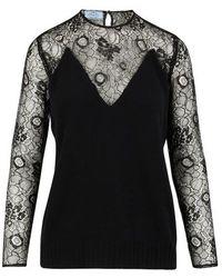 Prada Jumper With Lace Details - Black