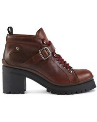 Miu Miu Laced Leather Ankle Boots - Brown