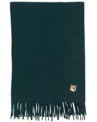 Maison Kitsuné Small Fox Head Wool Scarf - Green
