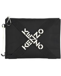 KENZO Logo Large Clutch - Black