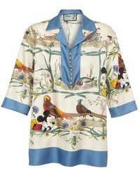 Gucci Haut de pyjama en soie Mickey - Bleu