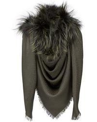 Fendi Touch Of Fur Shawl - Black