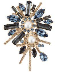 Erdem Crystal Bloom Brooch - Blue