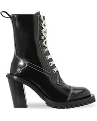 Acne Studios Patent Leather Lace-up Ankle Boots - Black