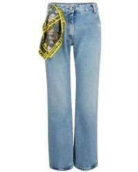 Off-White c/o Virgil Abloh Washed-out Jeans With Foulard Belt - Blue