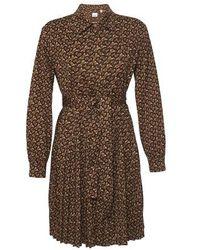 Burberry Pleated Monogram Print Jersey Tie-waist Shirt Dress - Brown