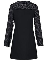 Louis Vuitton Monogram Lace Frill Sleeve Dress - Black