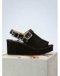 KENZO - Suede Wedge Sandals - Lyst