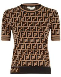 Fendi Allover Logo Pullover Knit Sweater - Black
