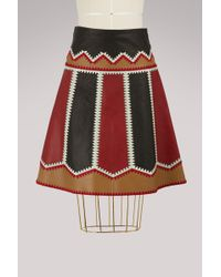 RED Valentino - Leather Patchwork Skirt - Lyst