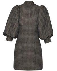 Ganni Puff Sleeve Mini-dress - Black