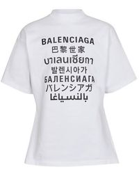 Balenciaga T-Shirt Curved - Weiß