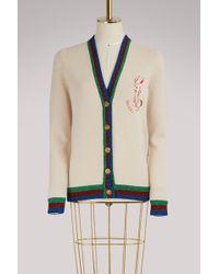 Gucci | Web Rabbit Wool Cardigan | Lyst