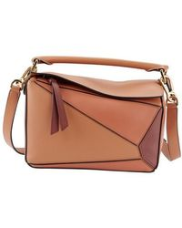 Loewe Small Puzzle Bag In Classic Calfskin - Brown