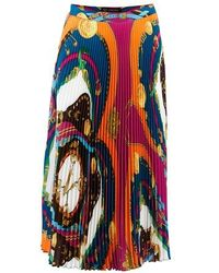 Versace Long Split Skirt - Blue