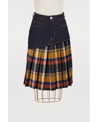 JOUR/NÉ - Pleated Check Print Denim Skirt - Lyst