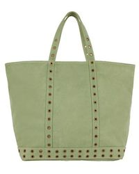 Vanessa Bruno Nubuck Leather M Cabas Tote With Eyelets - Green