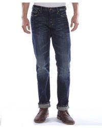 PRPS Dark Wash Cotton Straight Leg Button Fly Baracuda Jeans - Lyst