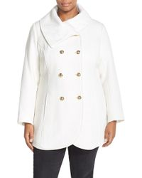 Jessica Simpson - Double Breasted Basket Weave Coat - Lyst