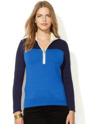 Lauren by Ralph Lauren Plus Size Colorblocked Half Zip Pullover - Lyst